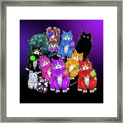Framed Print featuring the painting Dizzycats by DC Langer