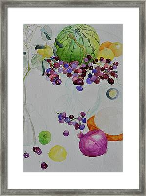 Framed Print featuring the painting Django's Grapes by Beverley Harper Tinsley