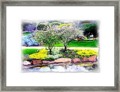 Framed Print featuring the photograph Do-00066 Lake Walk by Digital Oil