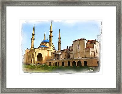 Framed Print featuring the photograph Do-00362al Amin Mosque And St George Maronite Cathedral by Digital Oil