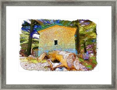 Do-00435 Building Surrounded By Cedars Framed Print