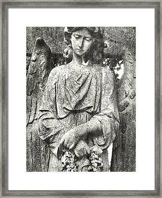 Framed Print featuring the mixed media Do Angels Look Sad  by Fine Art By Andrew David