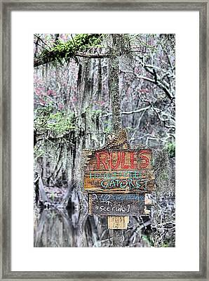 Do Not Feed Gators Framed Print by JC Findley