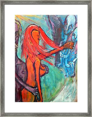 Framed Print featuring the painting Do What You Must - But Dont Forget The Children by Kenneth Agnello