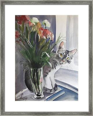 Do You See Me? Pet Portrait In Watercolor .modern Cat Art With Flowers  Framed Print