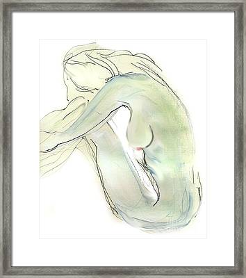 Do You Think - Female Nude Framed Print by Carolyn Weltman