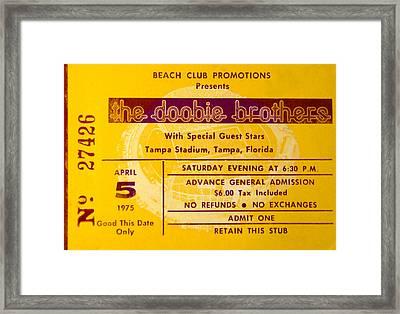 Dobbie Brothers Ticket 1975 Framed Print by David Lee Thompson