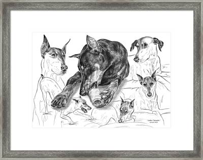 Dober-thoughts - Doberman Pinscher Montage Framed Print by Kelli Swan