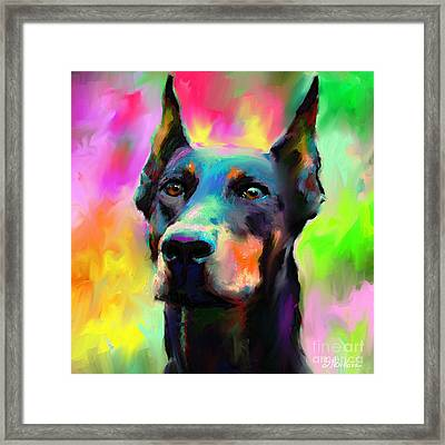 Doberman Pincher Dog Portrait Framed Print by Svetlana Novikova