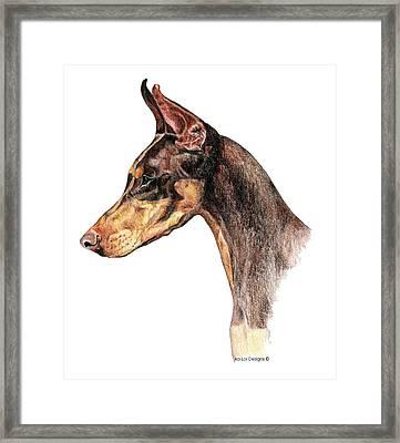 Doberman Pinscher Framed Print by Kathleen Sepulveda