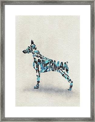 Doberman Pinscher Watercolor Painting / Typographic Art Framed Print