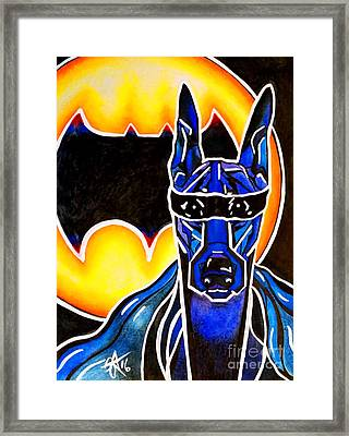 Dog Superhero Bat Framed Print by Jackie Carpenter