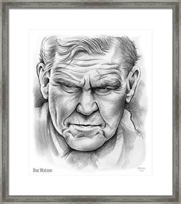 Doc Watson Framed Print by Greg Joens