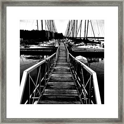 Dock And Sailboats Framed Print