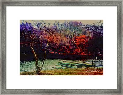 Dock At Central Park Framed Print by Sandy Moulder