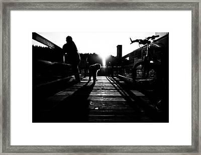 Dock At Secret Cove Framed Print by  Kelly Hayner