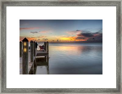 Dock At Sunset Framed Print by Al Hurley