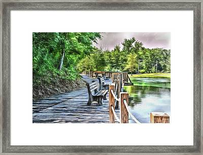 Dock By The Lake Framed Print