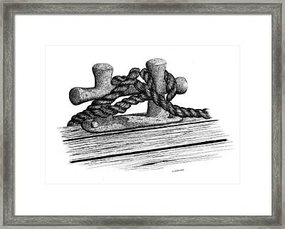 Dock Cleat Framed Print by Ed Einboden