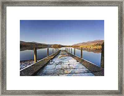 Dock In A Lake, Cumbria, England Framed Print