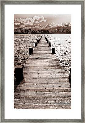 Dock Of Lake Tahoe With Views Of Mount Tallac Framed Print by Brad Scott
