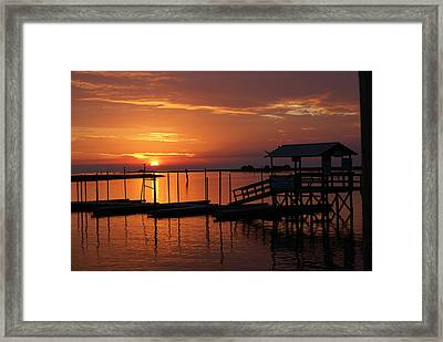 Dock Of The Bay Framed Print by Debbie May