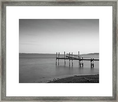 Framed Print featuring the photograph Dock Portsmouth Ri I Bw by David Gordon