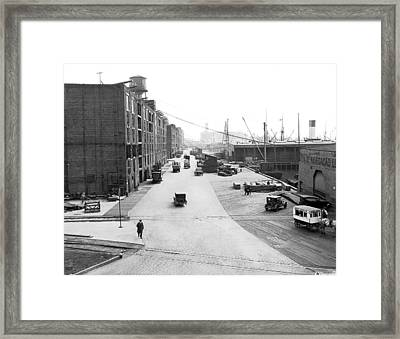 Dock Scene In New York City Framed Print by Underwood & Underwood