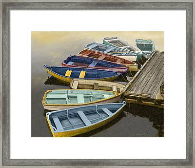 Dock With Colorful Boats Framed Print by Dennis Orlando
