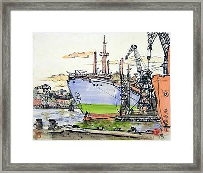 Dock Yard In Shanghai Framed Print by Ying Wong