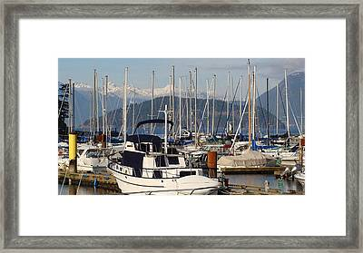 Framed Print featuring the painting Docked For The Day by Rod Jellison