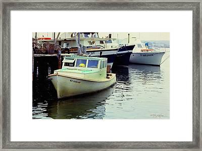 Docked Lobster Boats In Gloucester Framed Print by Frank Wilson