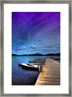 Docked On Fourth Lake Framed Print
