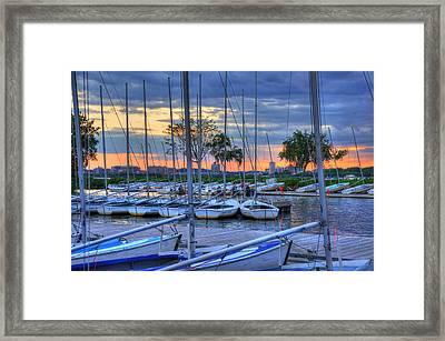 Docked Sailboats At Sunset - Boston Framed Print