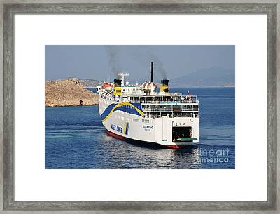 Docking Ferry On Halki Framed Print