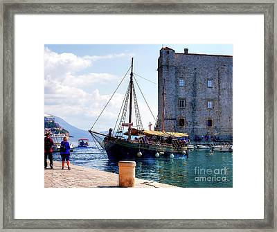 Docking In Dubrovnik Harbour Framed Print