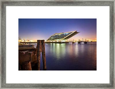 Framed Print featuring the photograph Dockland At Night by Marc Huebner