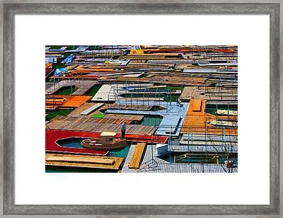 Docks In A Row Framed Print