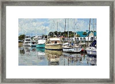 Dockside At Port St. Joe Marina In Cape San Blas Florida Version Two Framed Print by D S Images