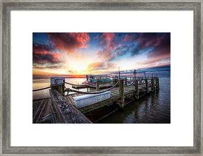 Dockside Harbor Framed Print by Debra and Dave Vanderlaan