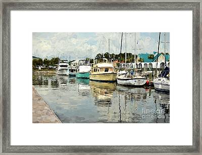 Docked At Port St. Joe Marina - Cape San Blas Fl Framed Print by D S Images