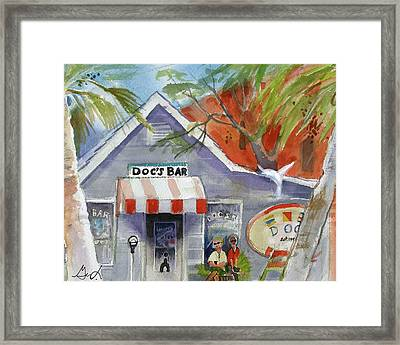 Framed Print featuring the painting Docs Bar Tybee Island by Gertrude Palmer