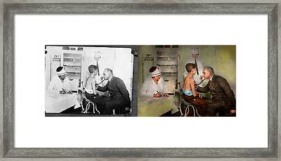 Doctor - At The Pediatricians Office 1925 - Side By Side Framed Print by Mike Savad