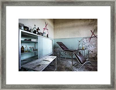 Framed Print featuring the photograph Doctor Chair Awaits Patient - Urbex Exploaration by Dirk Ercken
