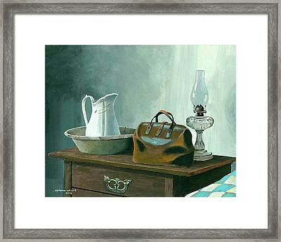 Doctor's House Call - Pioneer Home Framed Print by Norman Wright