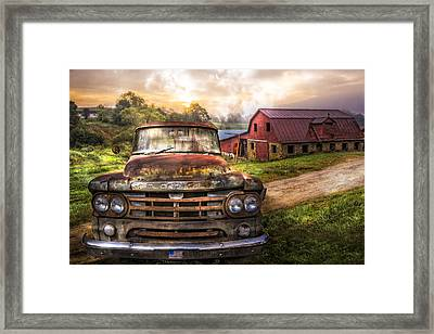 Dodge At The Farm Framed Print by Debra and Dave Vanderlaan