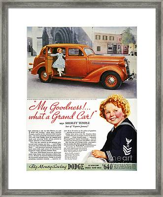 Dodge Automobile Ad, 1936 Framed Print by Granger