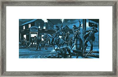Dodge City At Night Framed Print by Ron Embleton