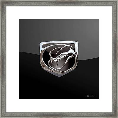 Dodge Viper - 3d Badge On Black Framed Print
