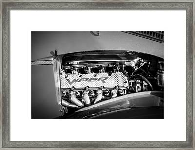 Dodge Viper Engine Emblem -0096bw Framed Print by Jill Reger